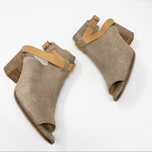 Lucky brand boho leather suede open toe booties
